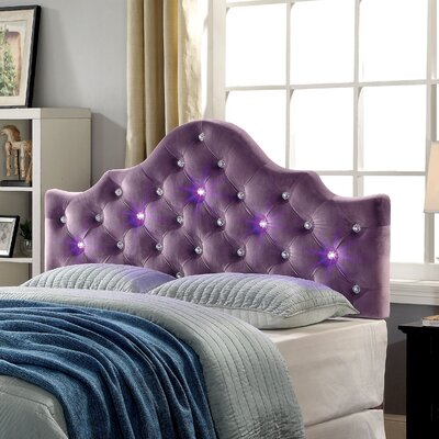 Winfree Contemporary Upholstered Panel Headboard Size: Full/Queen, Color: Purple