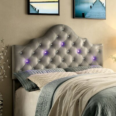 Artemis Contemporary Upholstered Panel Headboard Size: Full/Queen, Finish: Gray
