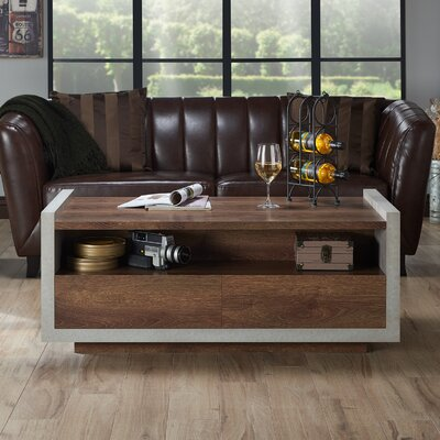Luzerne Contemporary Coffee Table with Magazine Rack Finish: Distressed Walnut