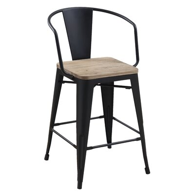 Kaitlyn Industrial Counter Height Solid Wood Dining Chair Color: Black