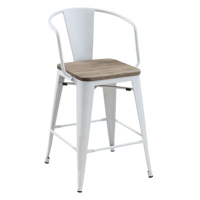 Kaitlyn Industrial Counter Height Solid Wood Dining Chair Color: White