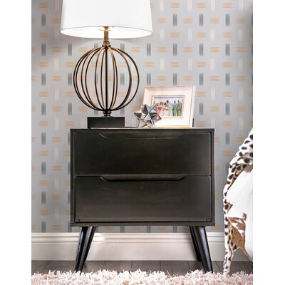 Polick Mid-Century Modern 2 Drawer Nightstand Finish: Black
