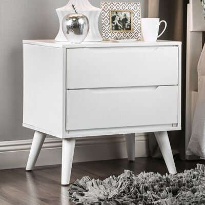 Polick Mid-Century Modern 2 Drawer Nightstand Finish: White