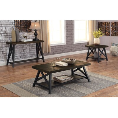 Mayur Industrial 3 Piece Coffee Table Set