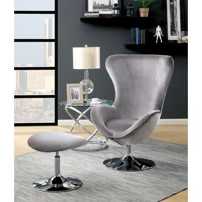 Maiah Contemporary Balloon Chair and Ottoman Upholstery: Gray