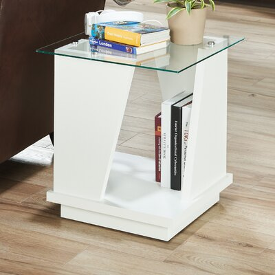 Rubina Contemporary End Table Color: White