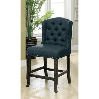 Tennessee Contemporary Counter Height Upholstered Dining Chair Upholstery: Dark Blue