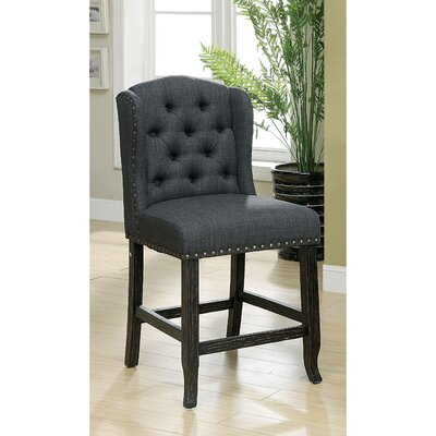 Tennessee Contemporary Counter Height Upholstered Dining Chair Upholstery: Gray