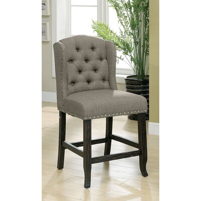 Tennessee Contemporary Counter Height Upholstered Dining Chair Upholstery: Light Gray