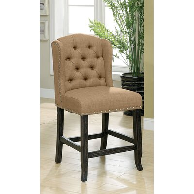 Tennessee Contemporary Counter Height Upholstered Dining Chair Upholstery: Gold