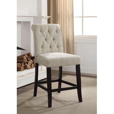 Tomasello Transitional Counter Height Upholstered Dining Chair Upholstery: Ivory