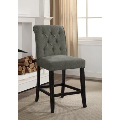 Tomasello Transitional Counter Height Upholstered Dining Chair Upholstery: Gray
