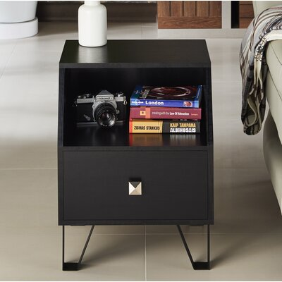 Merriwood Contemporary End Table Color: Black