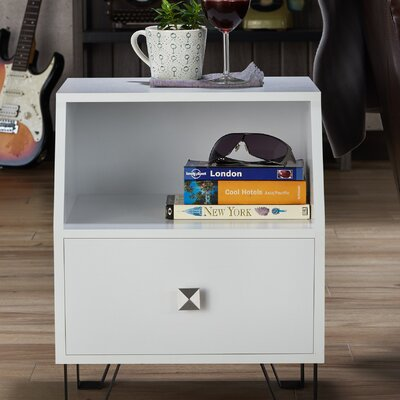 Merriwood Contemporary End Table Color: White