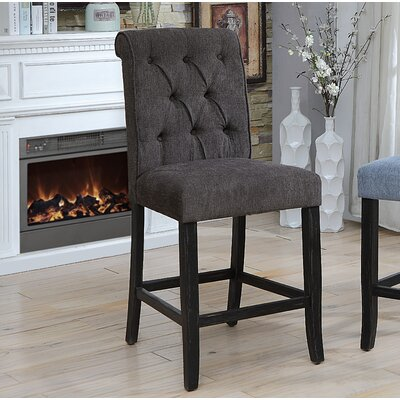 Tomasello Transitional Counter Height Upholstered Dining Chair Upholstery: Dark Gray