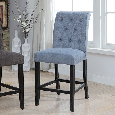Tomasello Transitional Counter Height Upholstered Dining Chair Upholstery: Blue