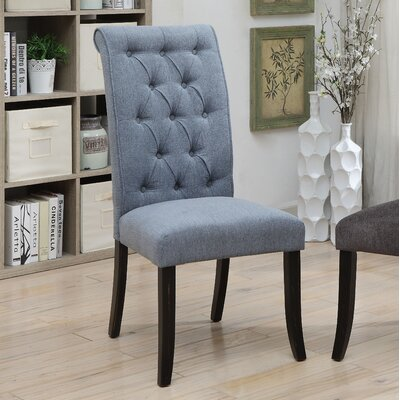 Tomasello Transitional Upholstered Dining Chair Upholstery: Blue
