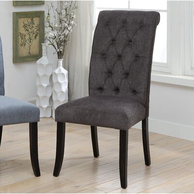 Tomasello Transitional Upholstered Dining Chair Upholstery: Dark Gray