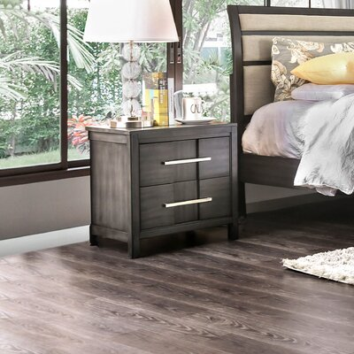 Alona Transitional 2 Drawer Nightstand Color: Gray