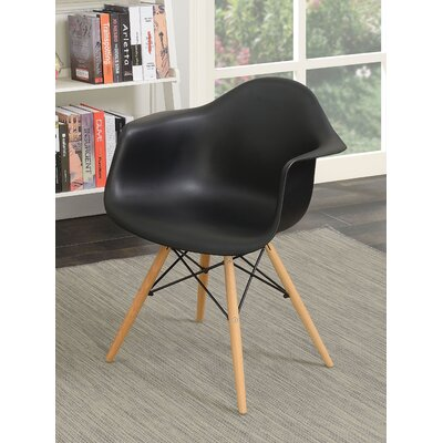 Rinehart Mid Century Modern Solid Wood Dining Chair Finish: Black