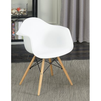 Rinehart Mid Century Modern Solid Wood Dining Chair Finish: White