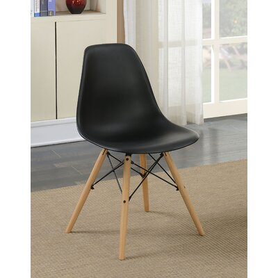 Prou Mid Century Solid Wood Dining Chair Finish: Black