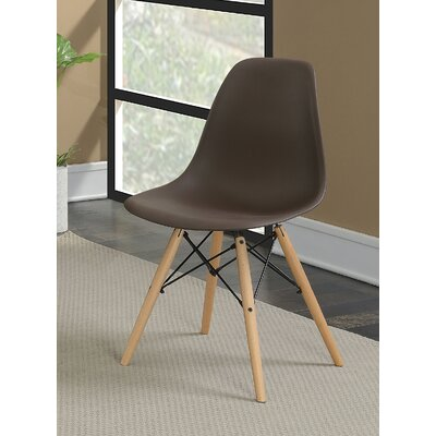 Prou Mid Century Solid Wood Dining Chair Finish: Brown