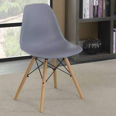 Prou Mid Century Solid Wood Dining Chair Finish: Gray
