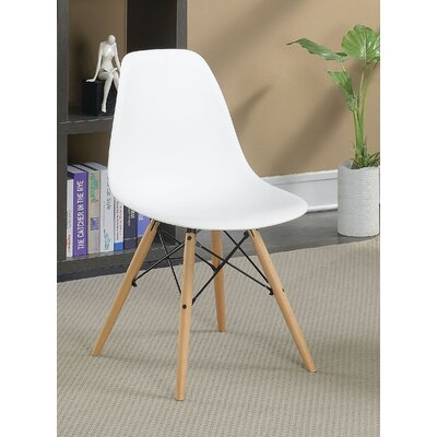 Prou Mid Century Solid Wood Dining Chair Finish: White