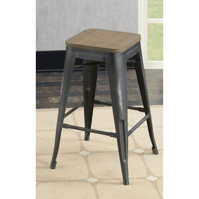 Gillespie Industrial 26 Bar Stool Color: Black