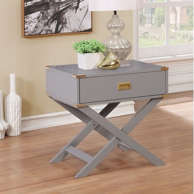 Whitfield Contemporary 1 Drawer End Table Color: Gray