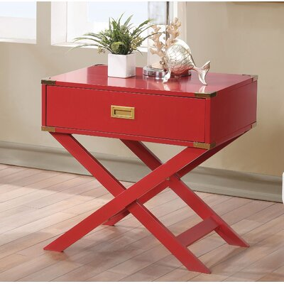 Whitfield Contemporary 1 Drawer End Table Color: Red