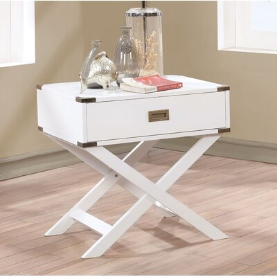 Whitfield Contemporary 1 Drawer End Table Color: White