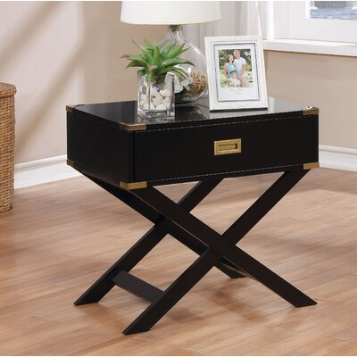 Whitfield Contemporary 1 Drawer End Table Color: Black