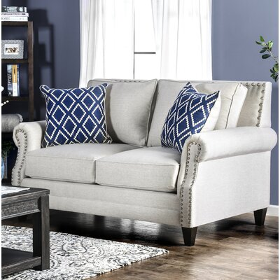 Buda Contemporary Loveseat Upholstery: Ivory