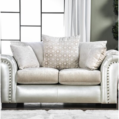 Calton Contemporary Loveseat Upholstery: Pearl/White