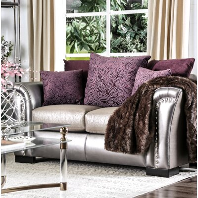 Calton Contemporary Loveseat Upholstery: Pewter/Purple