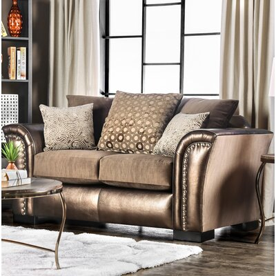 Calton Contemporary Loveseat Upholstery: Bronze/Brown