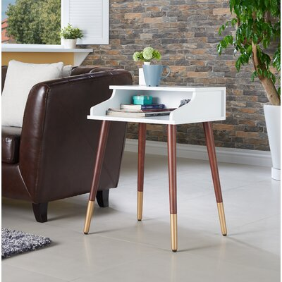 Kennison Mid Century Modern End Table Color: White