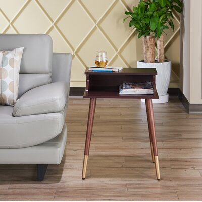 Kennison Mid Century Modern End Table Color: Espresso