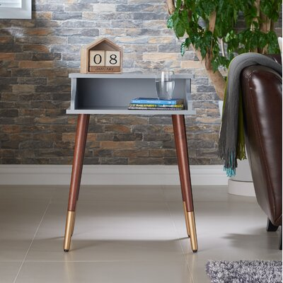 Kennison Mid Century Modern End Table Color: Gray