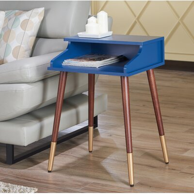 Kennison Mid Century Modern End Table Color: Blue