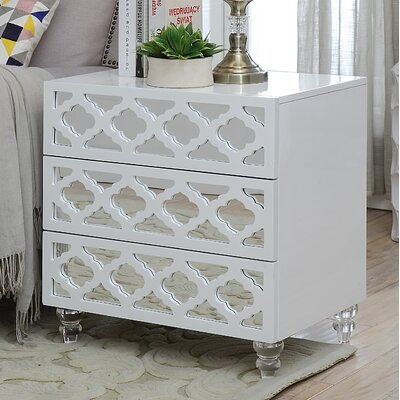 Botelho 3 Drawer Nightstand Color: White