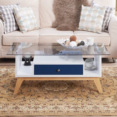 Levi Coffee Table with Storage Color: Navy/White