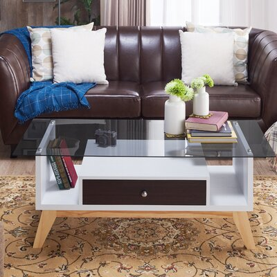 Levi Coffee Table with Storage Color: Espresso/White