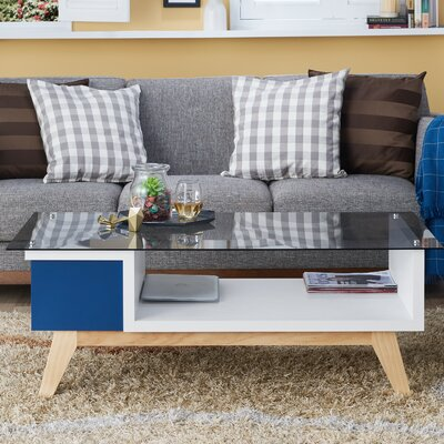 Alijah Coffee Table with Storage Color: Navy