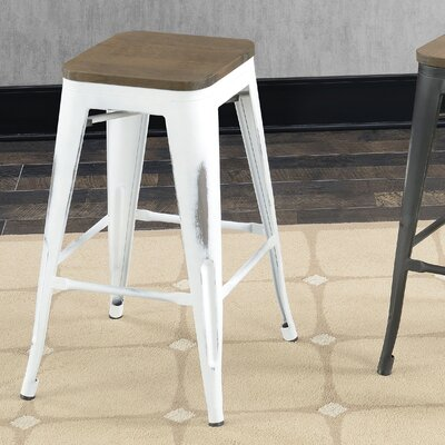 Gillespie Industrial 26 Bar Stool Color: White