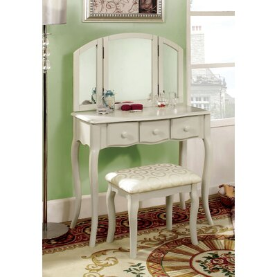 Hokku Designs Sophisticated Vanity Set with Padded Stool and Mirror - Finish: White at Sears.com