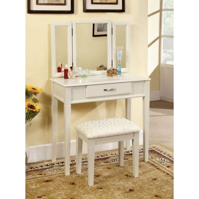 Hokku Designs Luisa Modern Vanity Set with Padded Stool and Mirror - Finish: White at Sears.com
