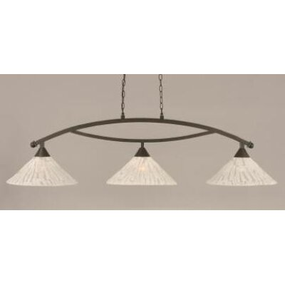 Bow 3-Light Downlight Kitchen Island Pendant Finish: Dark Granite, Shade Color: Italian Ice Glass